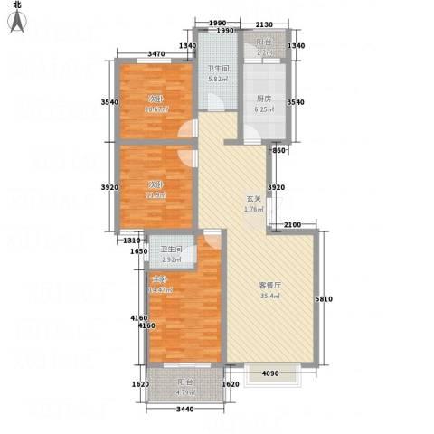 香港花园3室1厅2卫1厨135.00㎡户型图
