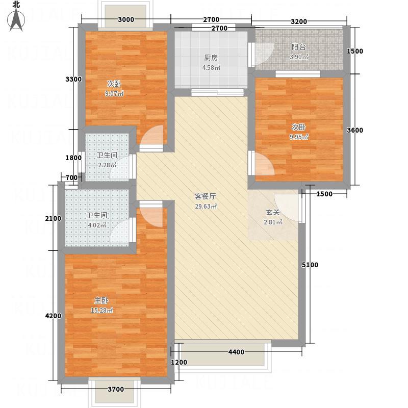 佳信阳光香缇8.71㎡E型标准层户型3室2厅2卫1厨