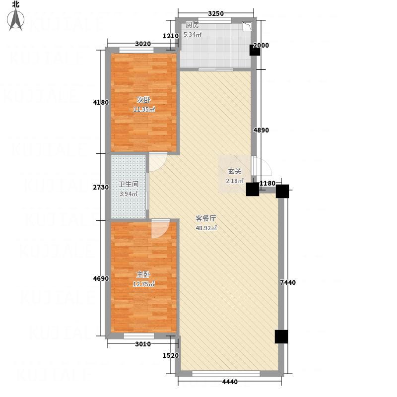 万恒・文博馨苑8.63㎡9863户型2室2厅1卫1厨