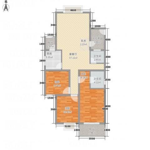 香港花园3室1厅2卫1厨139.00㎡户型图