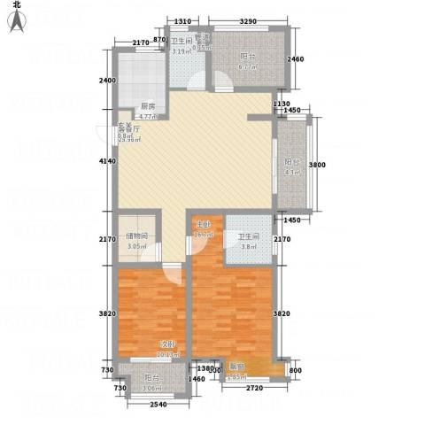 绿地香颂花园2室1厅2卫1厨125.00㎡户型图