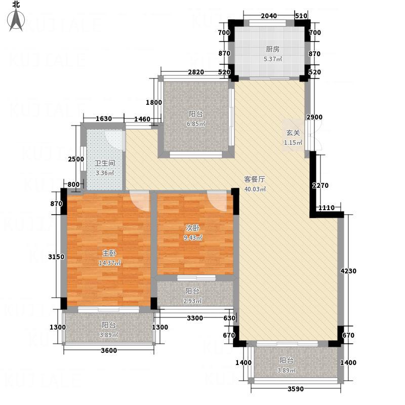 金鹏・玫瑰郡8.60㎡洋房7层户型2室2厅1卫1厨