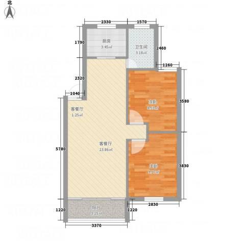 香格里拉2室1厅1卫1厨72.00㎡户型图