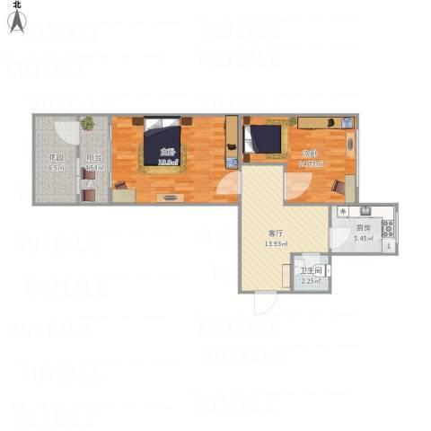 天辰公寓2-1-1012室1厅1卫1厨72.78㎡户型图