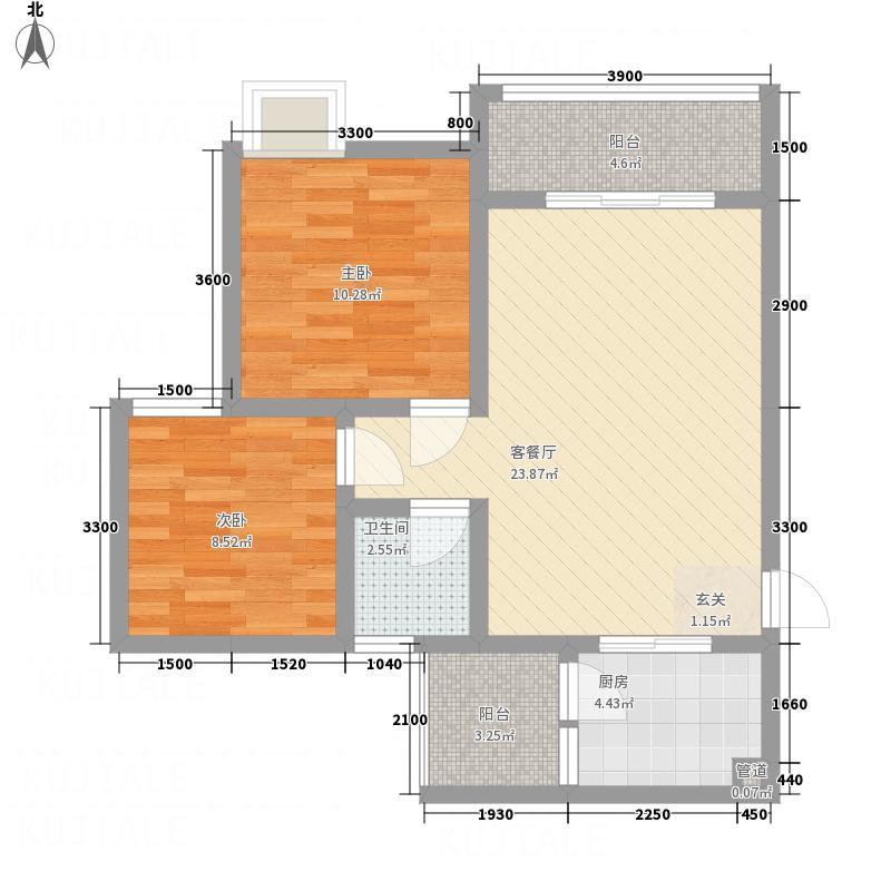 先城丽景6.10㎡M户型2室2厅1卫1厨
