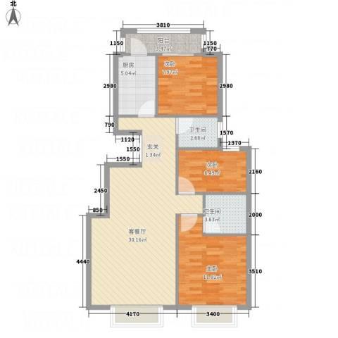 安宁佳园3室1厅2卫1厨100.00㎡户型图