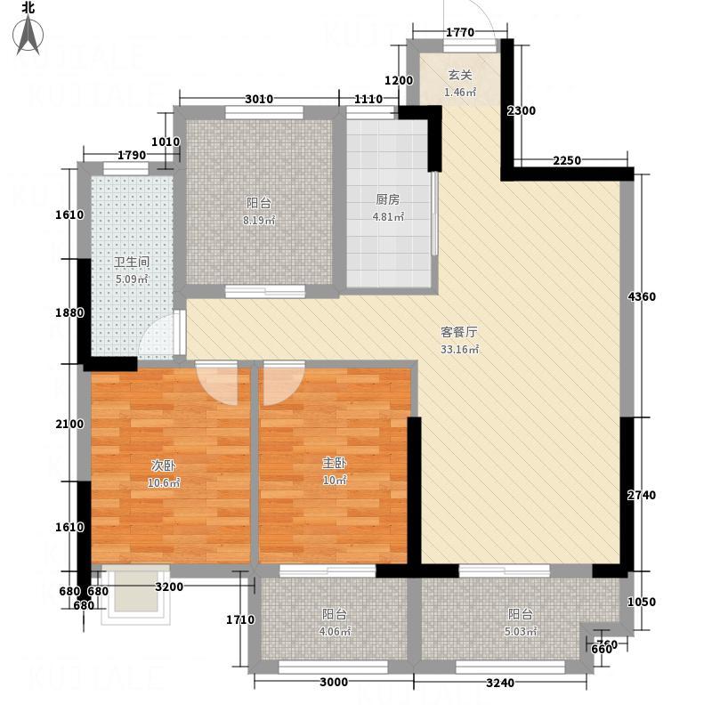 金鹏・玫瑰郡1.71㎡高层A2户型2室2厅1卫1厨