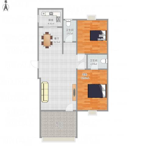 雅典阳光2室1厅2卫1厨101.00㎡户型图