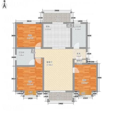 东骏华庭3室1厅2卫1厨142.00㎡户型图