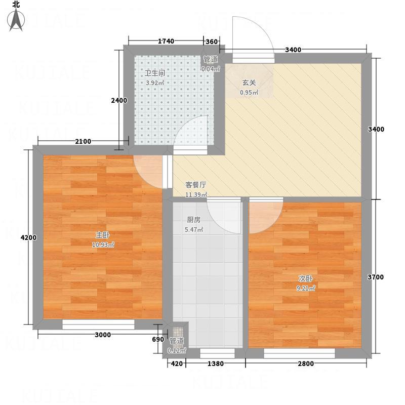 沈阳温馨港湾6.60㎡B1户型2室2厅1卫1厨