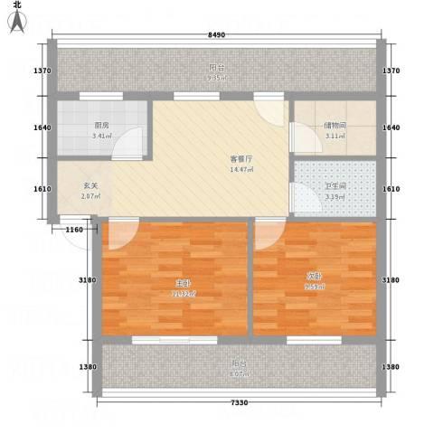 香格里拉2室1厅1卫1厨62.50㎡户型图
