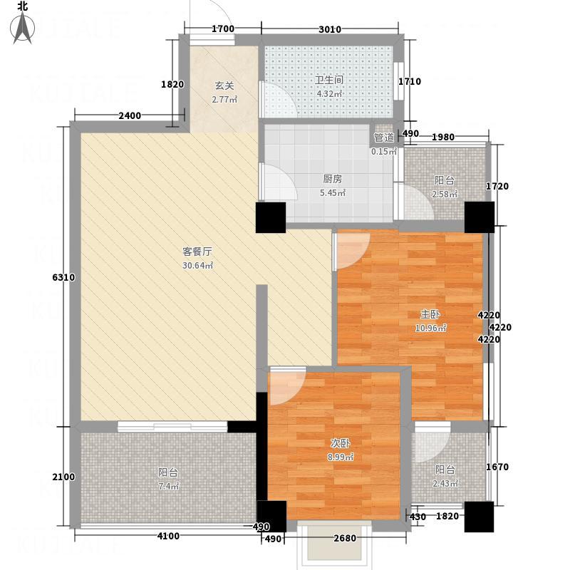 兴业城C户型2室1厅1卫1厨