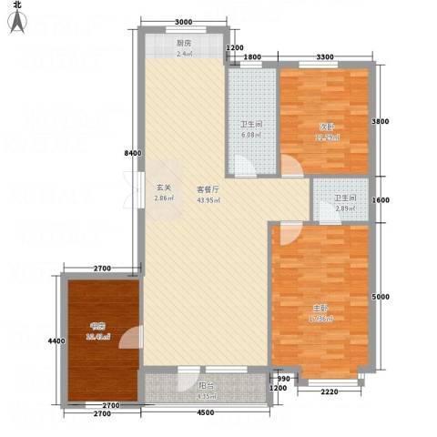 平安家园3室1厅2卫0厨133.00㎡户型图