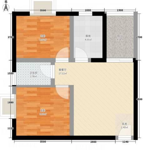 东城夕鹫2室1厅1卫1厨68.00㎡户型图