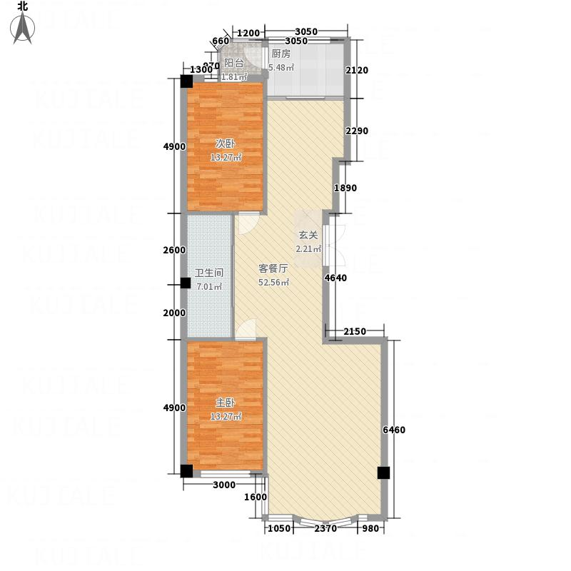 轩和・碧水龙庭12.00㎡120户型2室2厅1卫1厨