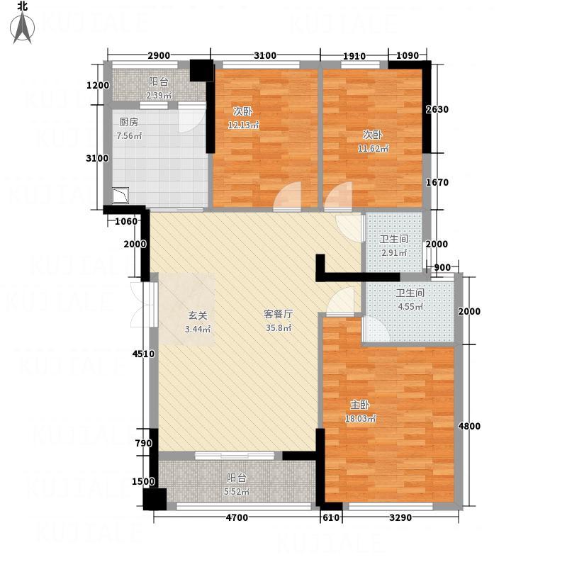 华辰玉海豪庭124.20㎡玉海豪庭F户型3室2厅1卫2厨