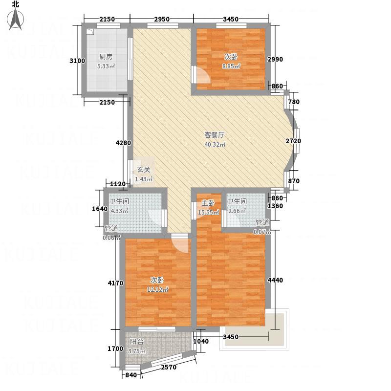 东城水岸43134.82㎡4号楼H户型3室2厅2卫1厨