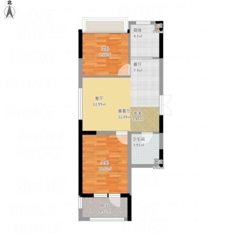 抚顺澳海澜庭2室1厅2卫2厨81.00㎡户型图