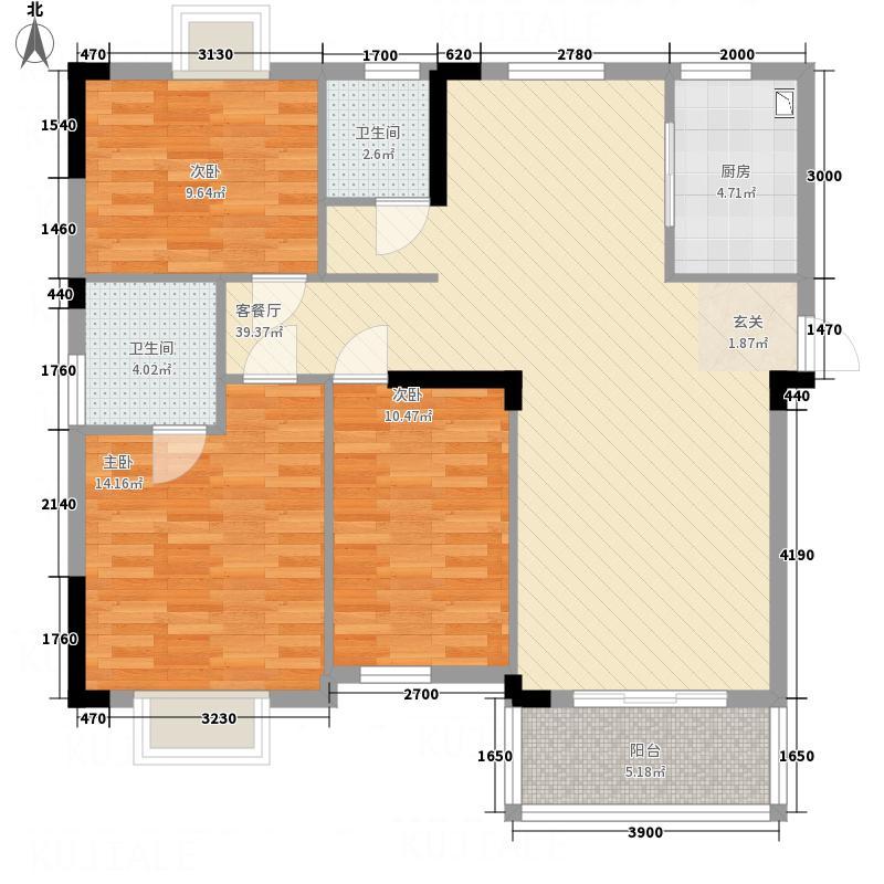 天鹅山庄128.12㎡品质生活33栋1号户型3室2厅2卫1厨