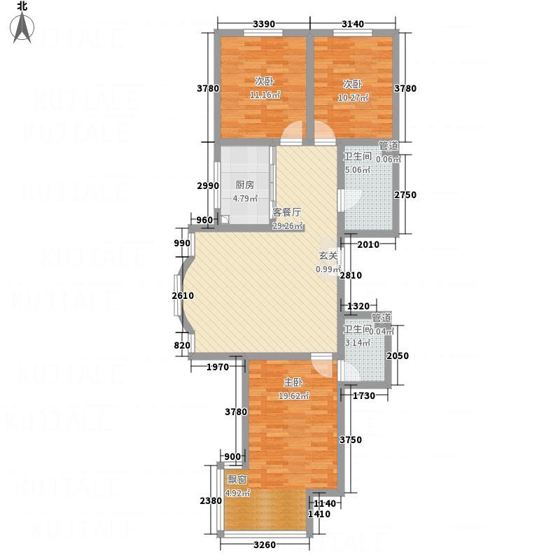 东城水岸4312.62㎡4号楼A户型3室2厅2卫1厨