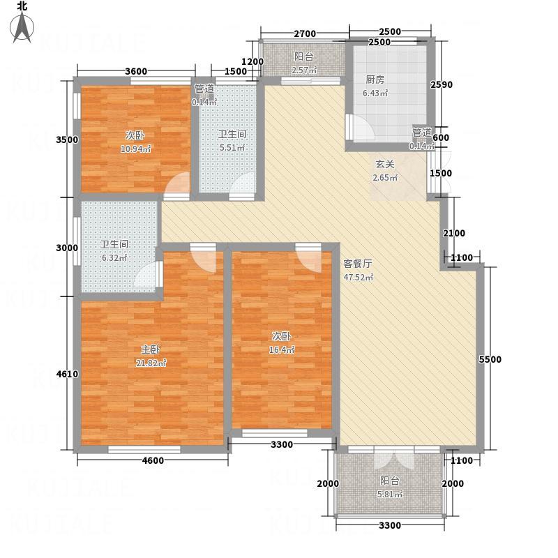 福海家园3143.72㎡A9户型3室2厅2卫1厨