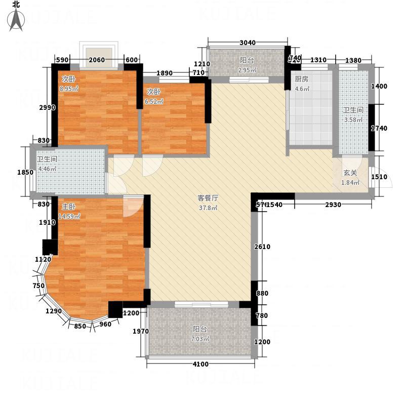天鹅山庄127.22㎡舒适生活34栋1号户型3室2厅2卫1厨