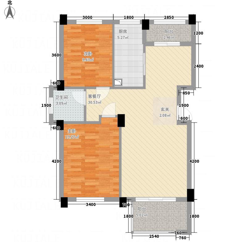 融园天地88.14㎡A户型2室2厅1卫1厨