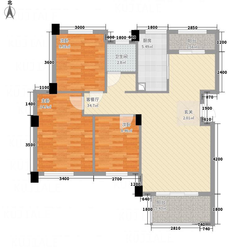 融园天地13.80㎡B户型3室2厅1卫1厨