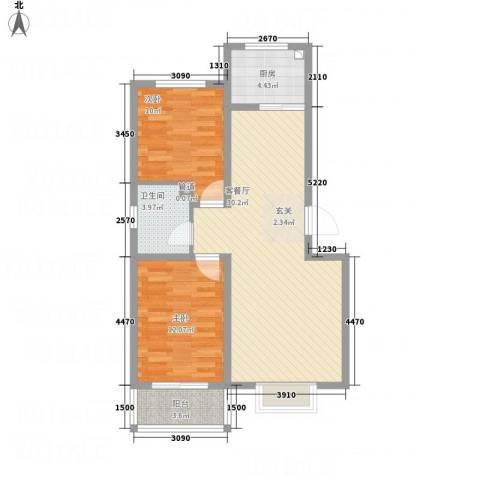 万洲国际2室1厅1卫1厨64.34㎡户型图