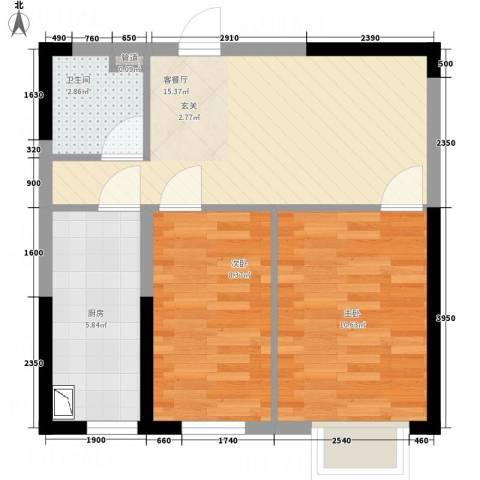 宝地城2室1厅1卫1厨43.30㎡户型图