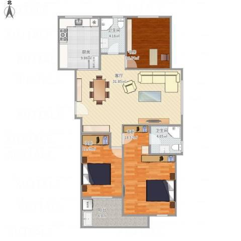 碧水云天3室1厅2卫1厨130.00㎡户型图