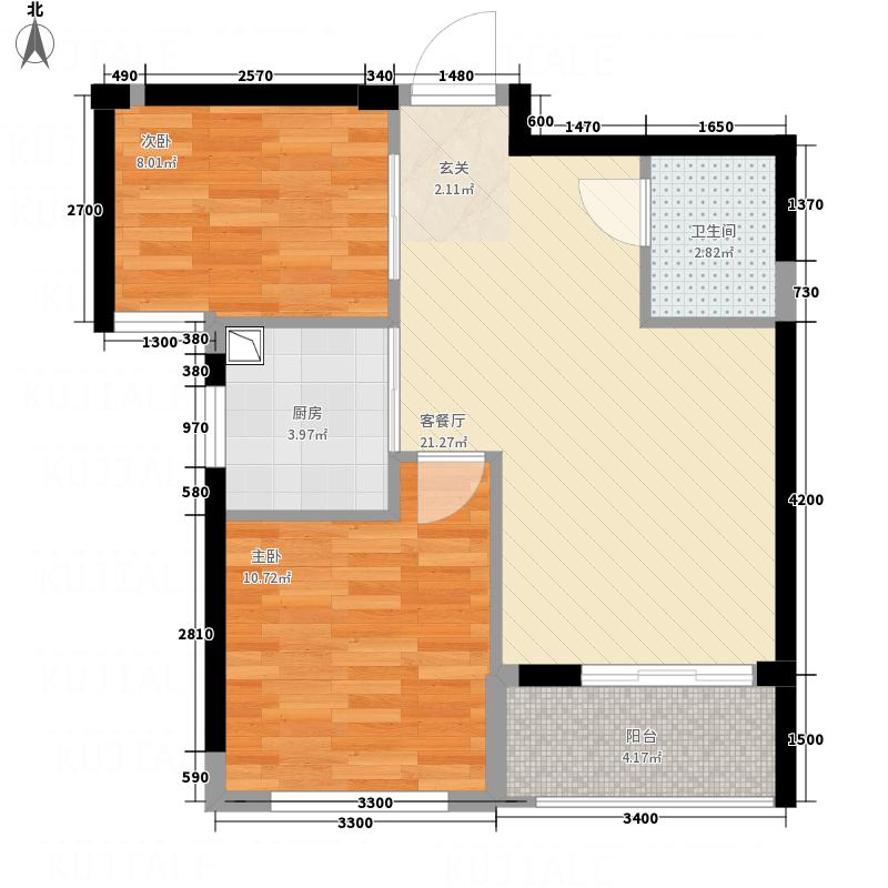 新纪元・香湖67.00㎡A户型2室2厅1卫1厨