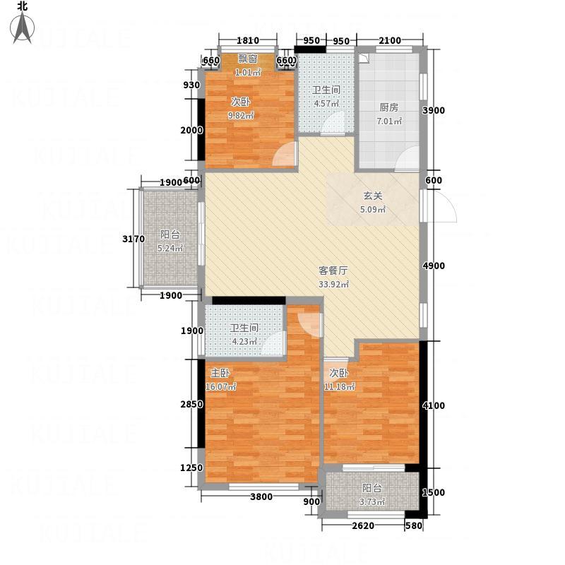 新纪元・香湖11.57㎡E户型3室2厅2卫1厨