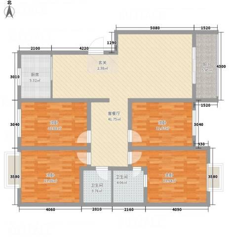 东方名城4室1厅2卫1厨158.00㎡户型图