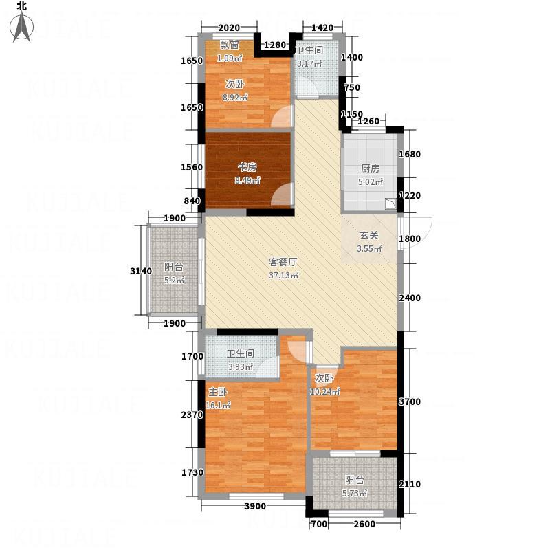 新纪元・香湖131.46㎡H户型4室2厅2卫