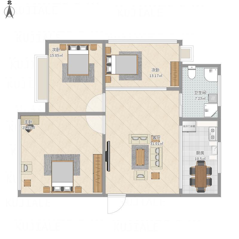 钱湖人家三期三室二厅的户型图