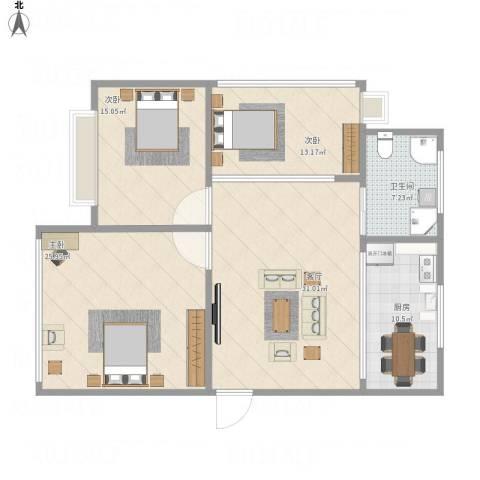 钱湖人家3室1厅1卫1厨141.00㎡户型图