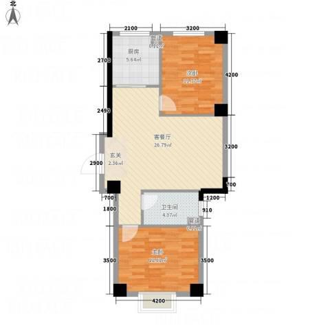 壹号公馆2室1厅1卫1厨61.62㎡户型图