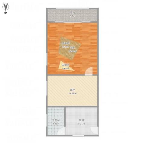 彭浦新村1室1厅1卫1厨76.00㎡户型图