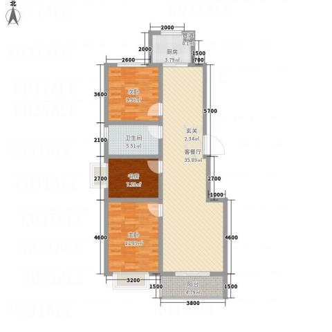 �秀城3室1厅1卫1厨115.00㎡户型图