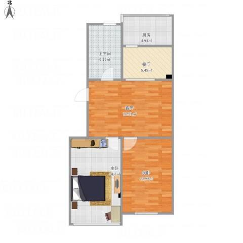 西马庄园2室2厅1卫1厨82.00㎡户型图