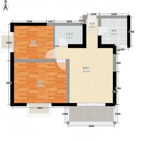 天赐苑2室1厅1卫1厨86.00㎡户型图
