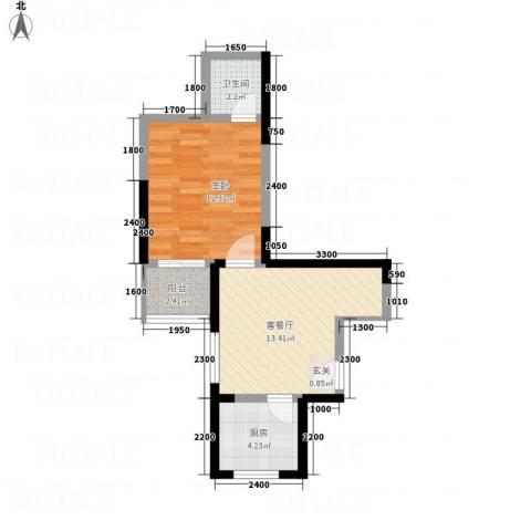 天赐苑1室1厅1卫1厨51.00㎡户型图