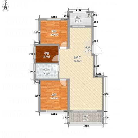 �秀城3室1厅1卫1厨114.00㎡户型图