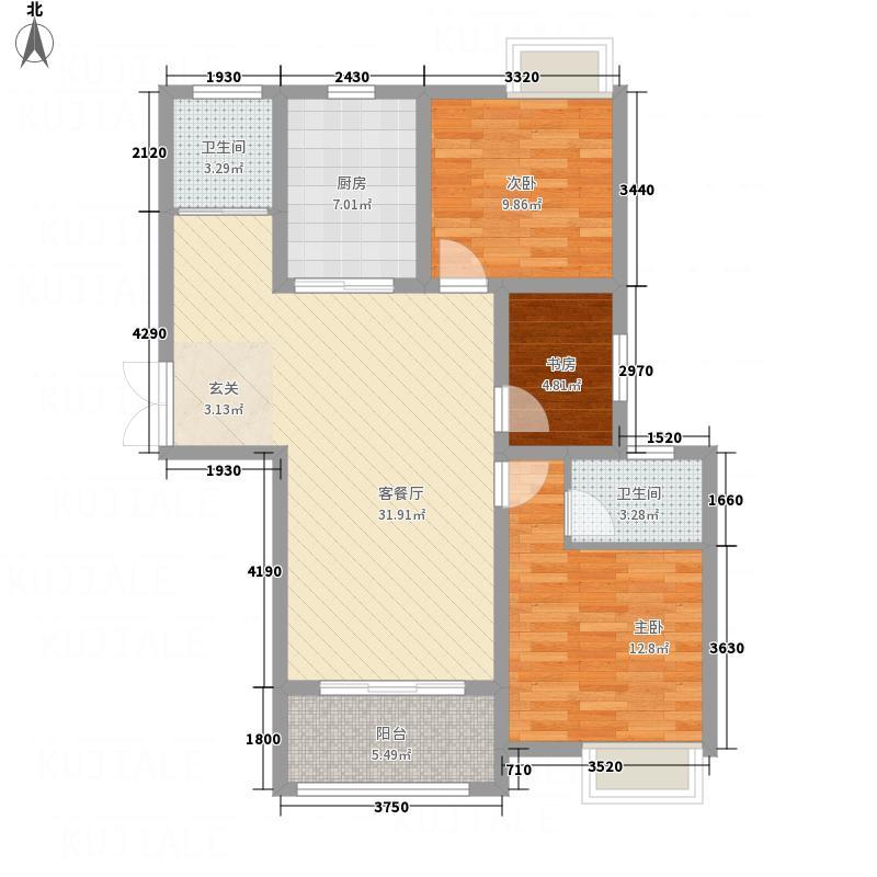 地矿・龙山湖苑New0042jpg户型3室2厅2卫1厨