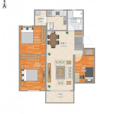 海棠小区3室1厅1卫1厨101.00㎡户型图