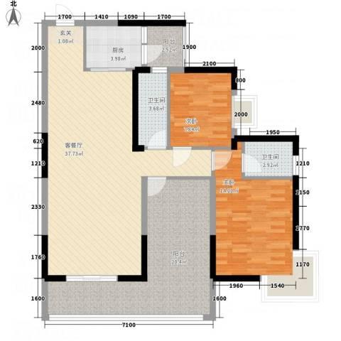 凯旋国际2室1厅2卫1厨93.29㎡户型图
