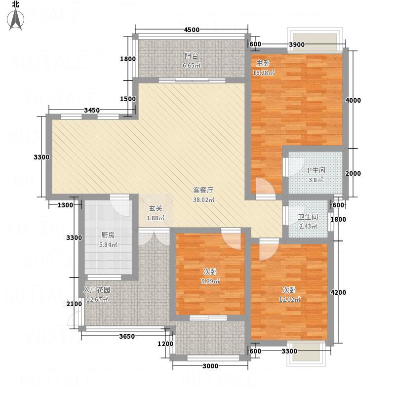 鸿升凯旋城11.68㎡G4户型3室2厅2卫1厨
