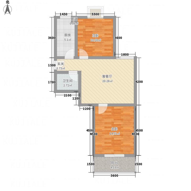 新涧河花园77.82㎡户型2室1厅1卫