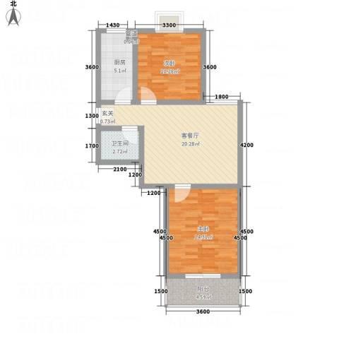 新涧河花园2室1厅1卫1厨78.00㎡户型图